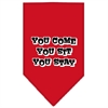 Mirage Pet Products You Come, You Sit, You Stay Screen Print Bandana Red Large
