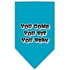 Mirage Pet Products You Come, You Sit, You Stay Screen Print Bandana Turquoise Large
