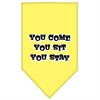Mirage Pet Products You Come, You Sit, You Stay Screen Print Bandana Yellow Small