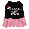 Mirage Pet Products Aberdoggie Christmas Screen Print Dress Black with Pink Med (12)