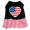 Mirage Pet Products American Flag Heart Screen Print Dress Black with Pink XXL (18)