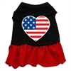 Mirage Pet Products American Flag Heart Screen Print Dress Black with Red XS (8)