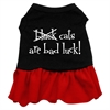 Mirage Pet Products Black Cats are Bad Luck Screen Print Dress Black with Red XS (8)