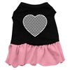 Mirage Pet Products Chevron Heart Screen Print Dress Black with Pink Lg (14)