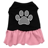 Mirage Pet Products Chevron Paw Screen Print Dress Black with Pink Med (12)