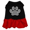Mirage Pet Products Chevron Paw Screen Print Dress Black with Red XXL (18)