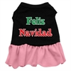 Mirage Pet Products Feliz Navidad Screen Print Dress Black with Pink Sm (10)