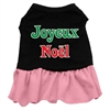 Mirage Pet Products Joyeux Noel Screen Print Dress Black with Pink Lg (14)