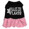 Mirage Pet Products All my friends are Flakes Screen Print Dress Black with Pink Lg (14)