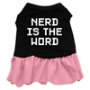 Mirage Pet Products Nerd is the Word Screen Print Dress Black with Pink Sm (10)