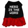 Mirage Pet Products Nerd is the Word Screen Print Dress Black with Red Med (12)