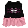 Mirage Pet Products Pink Snowflake Screen Print Dress Black with Pink Med (12)