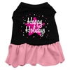 Mirage Pet Products Scribble Happy Holidays Screen Print Dress Black with Pink XXL (18)