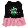Mirage Pet Products Scribble Merry Christmas Screen Print Dress Black with Pink XXL (18)