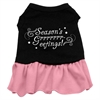 Mirage Pet Products Seasons Greetings Screen Print Dress Black with Pink Med (12)