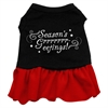 Mirage Pet Products Seasons Greetings Screen Print Dress Black with Red Med (12)