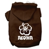 Mirage Pet Products Aloha Flower Screen Print Pet Hoodies Brown Size Med (12)