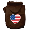 Mirage Pet Products American Flag Heart Screen Print Pet Hoodies Brown Size XS (8)