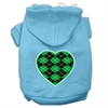 Mirage Pet Products Argyle Heart Green Screen Print Pet Hoodies Baby Blue Size Sm (10)