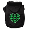 Mirage Pet Products Argyle Heart Green Screen Print Pet Hoodies Black Size XS (8)