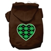 Mirage Pet Products Argyle Heart Green Screen Print Pet Hoodies Brown Size Sm (10)