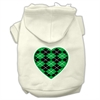 Mirage Pet Products Argyle Heart Green Screen Print Pet Hoodies Cream Size S (10)