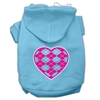 Mirage Pet Products Argyle Heart Pink Screen Print Pet Hoodies Baby Blue Size Sm (10)