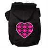 Mirage Pet Products Argyle Heart Pink Screen Print Pet Hoodies Black Size XXL (18)