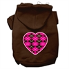 Mirage Pet Products Argyle Heart Pink Screen Print Pet Hoodies Brown Size Sm (10)