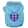 Mirage Pet Products Argyle Heart Purple Screen Print Pet Hoodies Baby Blue Size Med (12)