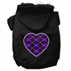 Mirage Pet Products Argyle Heart Purple Screen Print Pet Hoodies Black Size XL (16)