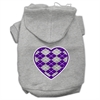 Mirage Pet Products Argyle Heart Purple Screen Print Pet Hoodies Grey Size XXXL (20)