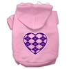 Mirage Pet Products Argyle Heart Purple Screen Print Pet Hoodies Light Pink Size XS (8)