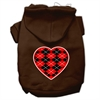 Mirage Pet Products Argyle Heart Red Screen Print Pet Hoodies Brown Size Sm (10)