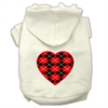 Mirage Pet Products Argyle Heart Red Screen Print Pet Hoodies Cream Size XXXL(20)