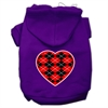 Mirage Pet Products Argyle Heart Red Screen Print Pet Hoodies Purple Size Med (12)