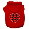 Mirage Pet Products Argyle Heart Red Screen Print Pet Hoodies Red Size Med (12)