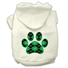 Mirage Pet Products Argyle Paw Green Screen Print Pet Hoodies Cream Size S (10)
