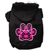 Mirage Pet Products Argyle Paw Pink Screen Print Pet Hoodies Black Size XS (8)