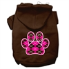 Mirage Pet Products Argyle Paw Pink Screen Print Pet Hoodies Brown Size Sm (10)