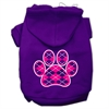 Mirage Pet Products Argyle Paw Pink Screen Print Pet Hoodies Purple Size Med (12)