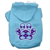 Mirage Pet Products Argyle Paw Purple Screen Print Pet Hoodies Baby Blue Size Sm (10)