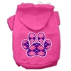 Mirage Pet Products Argyle Paw Purple Screen Print Pet Hoodies Bright Pink Size Sm (10)
