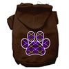 Mirage Pet Products Argyle Paw Purple Screen Print Pet Hoodies Brown Size Sm (10)
