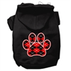 Mirage Pet Products Argyle Paw Red Screen Print Pet Hoodies Black Size XXL (18)