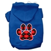 Mirage Pet Products Argyle Paw Red Screen Print Pet Hoodies Blue Size Sm (10)