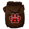 Mirage Pet Products Argyle Paw Red Screen Print Pet Hoodies Brown Size Med (12)