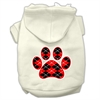 Mirage Pet Products Argyle Paw Red Screen Print Pet Hoodies Cream Size XXXL(20)