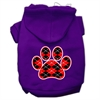 Mirage Pet Products Argyle Paw Red Screen Print Pet Hoodies Purple Size Med (12)