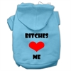 Mirage Pet Products Bitches Love Me Screen Print Pet Hoodies Baby Blue Size Med (12)